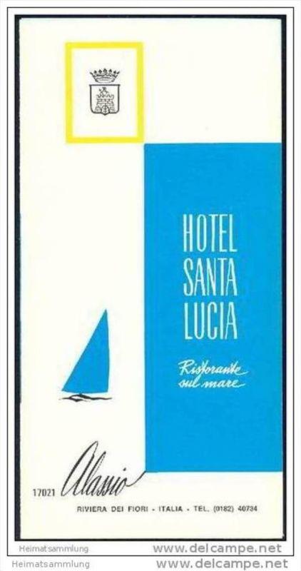Alassio 70er Jahre - Hotel Santa Lucia - Faltblatt mit 6 Abbildungen