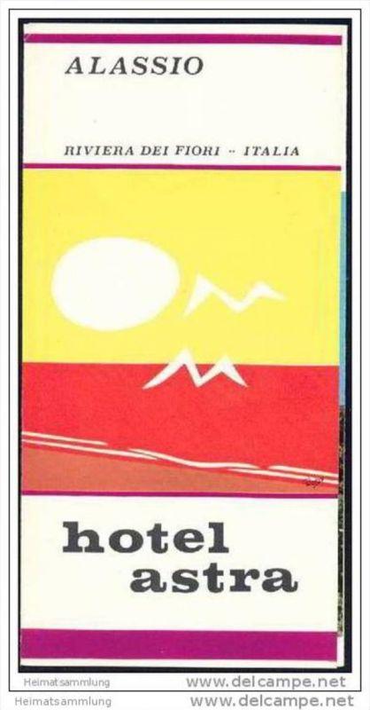 Alassio 70er Jahre - Hotel Astra - Faltblatt mit 6 Abbildungen
