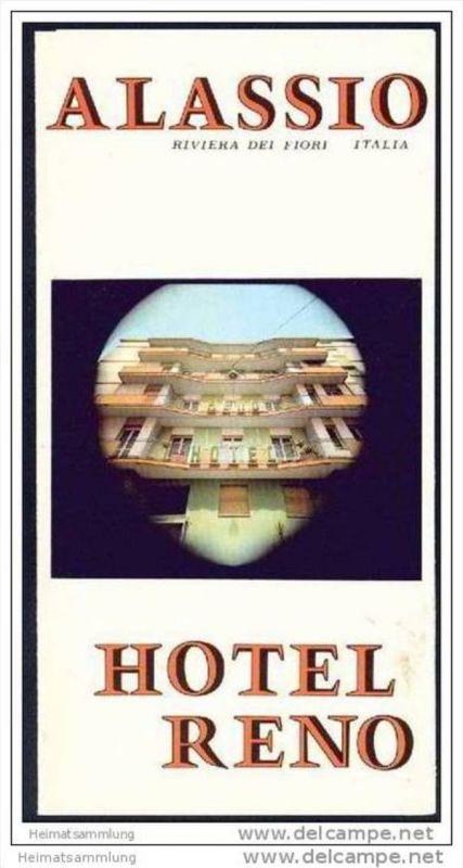 Alassio 70er Jahre - Hotel Reno - Faltblatt mit 7 Abbildungen