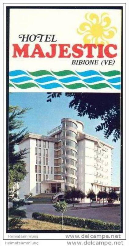 Bibione 70er Jahre - Hotel Majestic - Faltblatt mit 10 Abbildungen