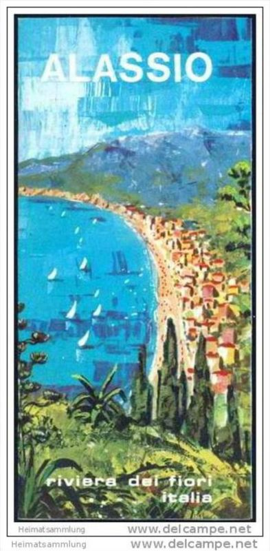 Alassio 70er Jahre - Faltblatt mit 8 Abbildungen