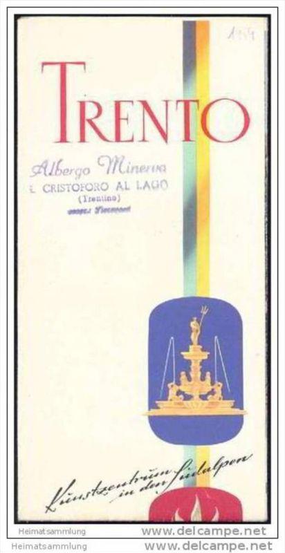 Trento 1959 - Faltblatt mit 10 Abbildungen - Reliefkarte /Berann