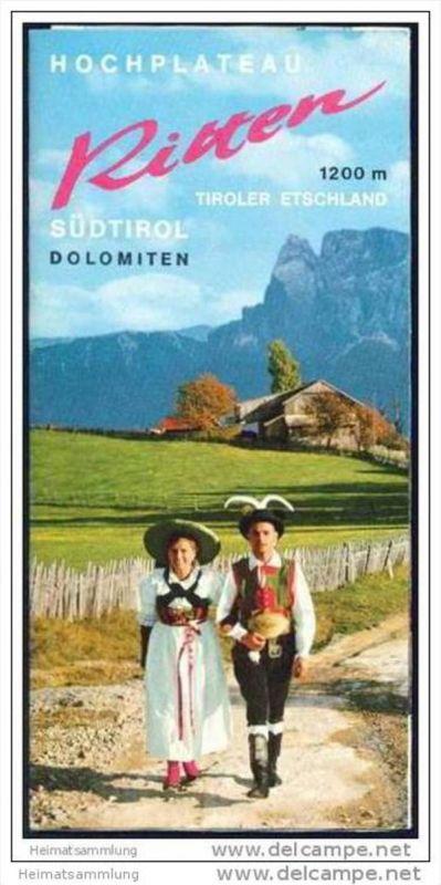 Hochplateau Ritten 1973 - Faltblatt mit 17 Abbildungen - Reliefkarte/Matthias