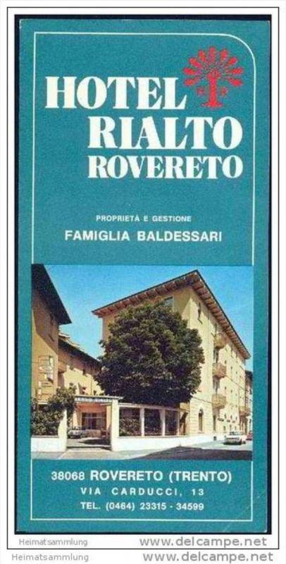 Rovereto 60er Jahre - Hotel Rialto - Faltblatt mit 8 Abbildungen