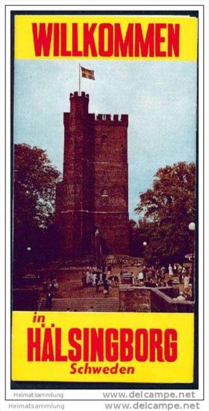 Hälsingborg 1966 - Faltblatt mit 6 Abbildungen - Stadtrundgang - Stadtplan