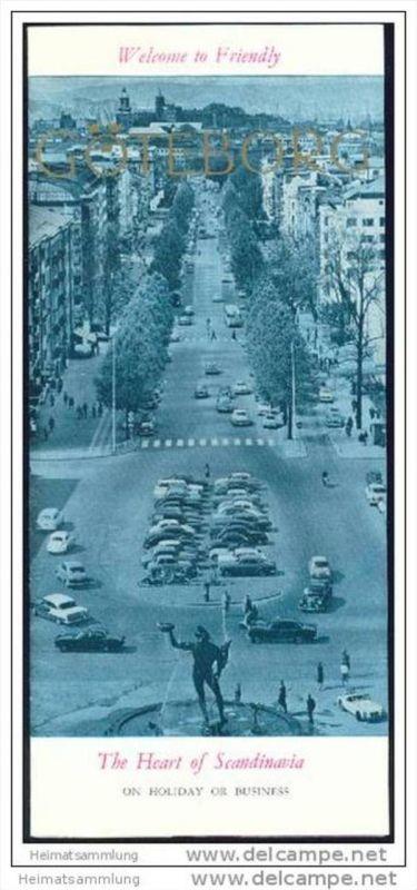 Göteborg 1965 - Faltblatt mit 11 Abbildungen - Ausschnitt vom Stadtplan