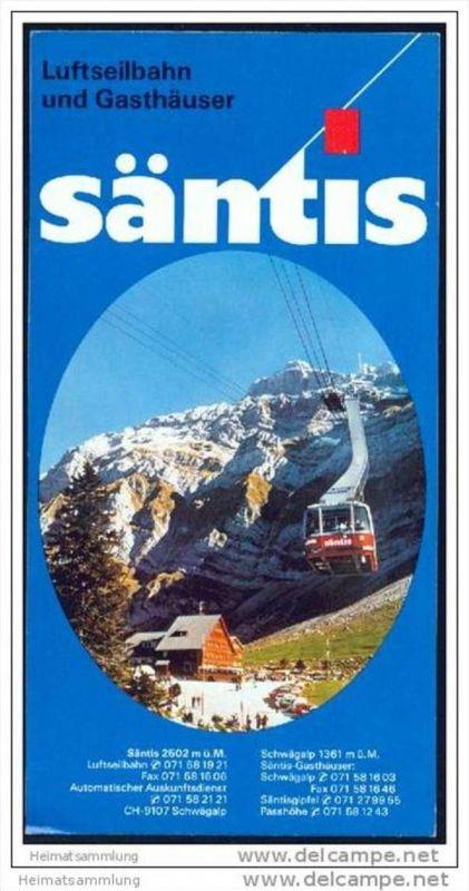 Säntis - Luftseilbahn und Gasthäuser - Faltblatt mit 10 Abbildungen - Panoramabild - Reliefkarte