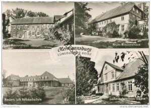 Hermannsburg - Altes und neues Missionshaus - Volkshochschule - Foto-AK Grossformat - Verlag Missionshandlung Hermannsbu