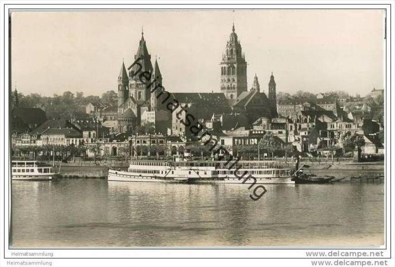 Mainz - Rheinufer - Rheinschiff Frieden - Foto-AK 0