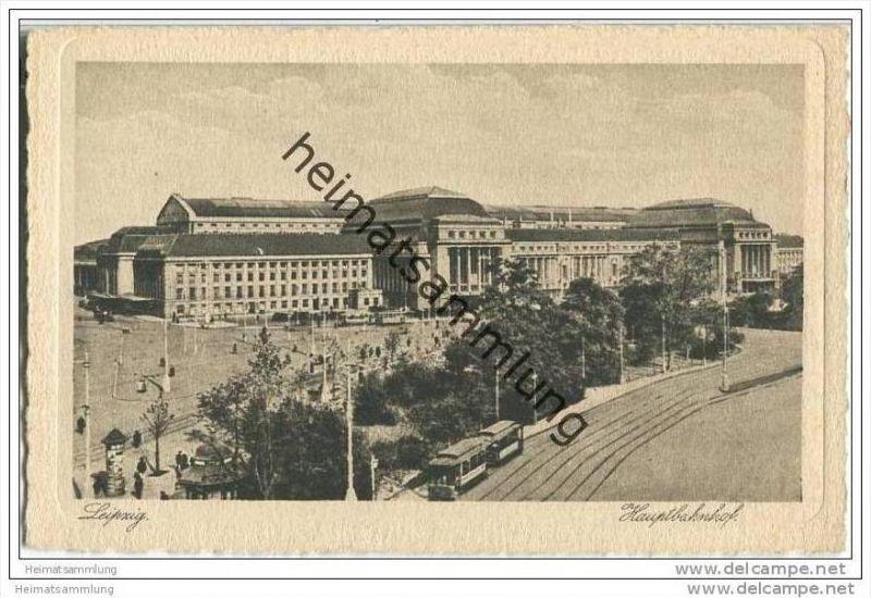 Leipzig - Hauptbahnhof - Strassenbahn - AK 20er Jahre 0