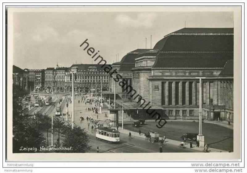 Leipzig - Hauptbahnhof - Strassenbahn - Foto-AK 30er Jahre