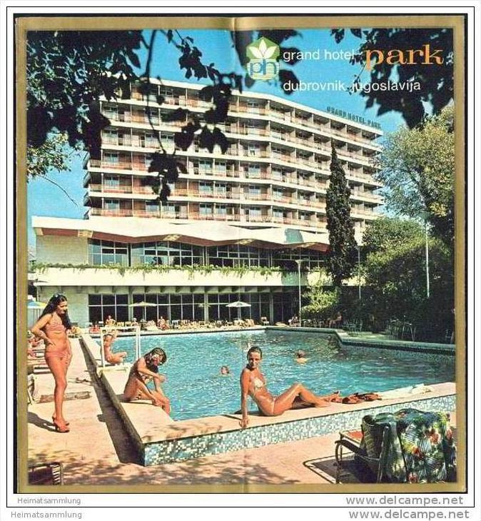 Kroatien 70er Jahre - Dubrovnik - Grand Hotel Park - Faltblatt mit 19 Abbildungen