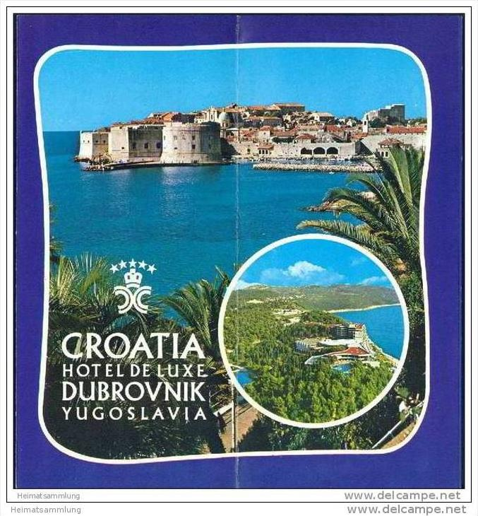 Kroatien 70er Jahre - Dubrovnik - Hotel de Luxe - Faltblatt mit 14 Abbildungen