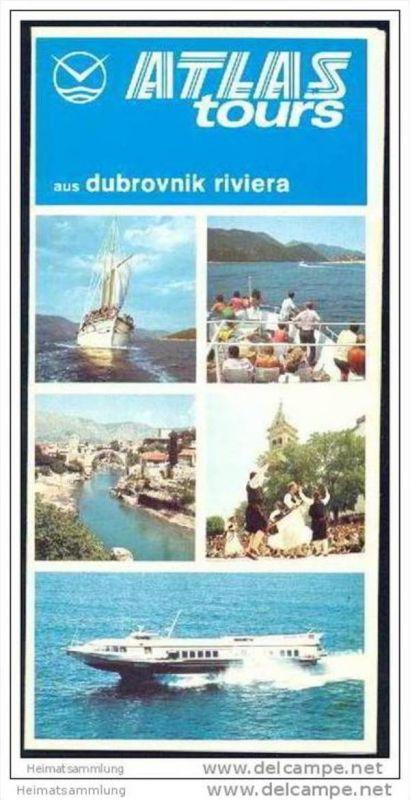 Kroatien 70er Jahre - Dubrovnik - Faltblatt mit 19 Abbildungen - M/S Ambasador - Rundfahrten - Faltblatt