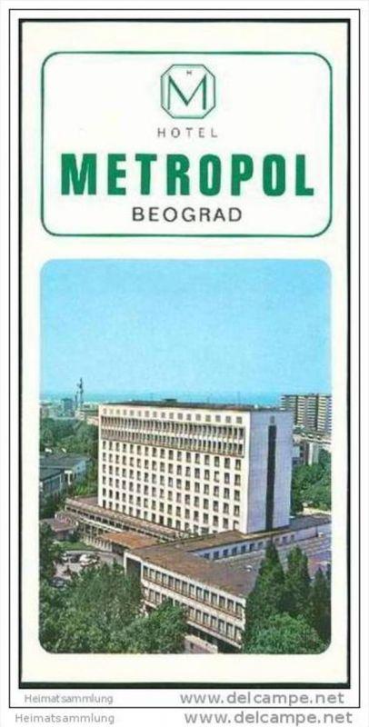 Serbien - Beograd 60er Jahre - Hotel Metropol - Faltblatt mit 10 Abbildungen - Stadtplan 0