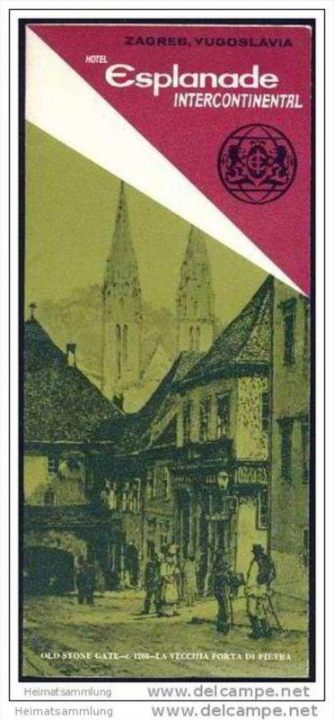 Kroatien 70er Jahre - Zagreb - Hotel Esplanade Intercontinental - Faltblatt mit 14 Abbildungen