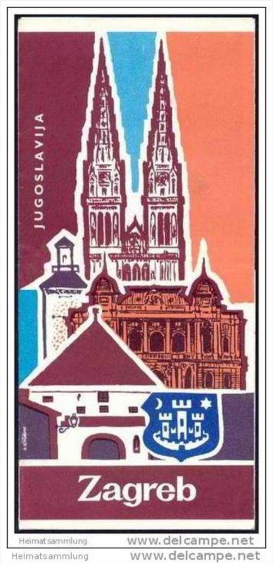 Kroatien 1976 - Zagreb - Faltblatt 14 Abbildungen - Stadtplan - Veranstaltungskalender April 1976 0