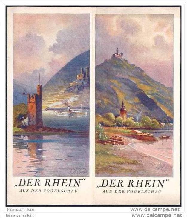 Der Rhein aus der Vogelschau 30er Jahre - von Speyer bis Emmerich in 10 Vogelschau-Bildern / Kunstmaler J. Ruep 0