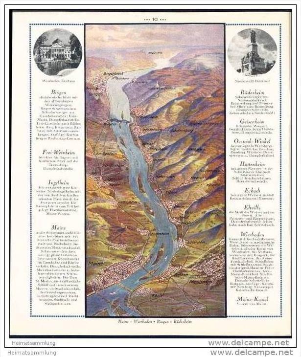 Der Rhein aus der Vogelschau 30er Jahre - von Speyer bis Emmerich in 10 Vogelschau-Bildern / Kunstmaler J. Ruep 1
