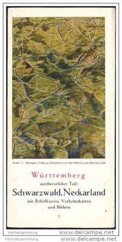 Württemberg 40er Jahre - nordwestlicher Teil Schwarzwald Neckarland mit Reliefkarten - Verkehrskarten und Bildern