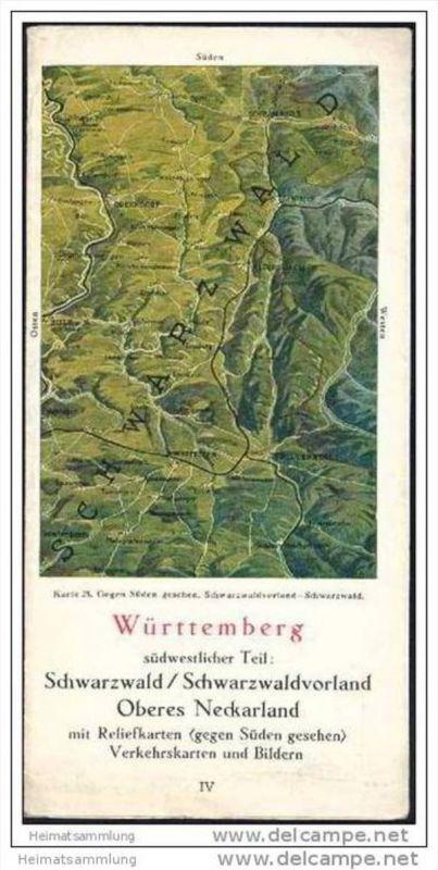 Württemberg 40er Jahre - südwestlicher Teil Schwarzwald Schwarzwaldvorland - oberes Neckarland mit Reliefkarten