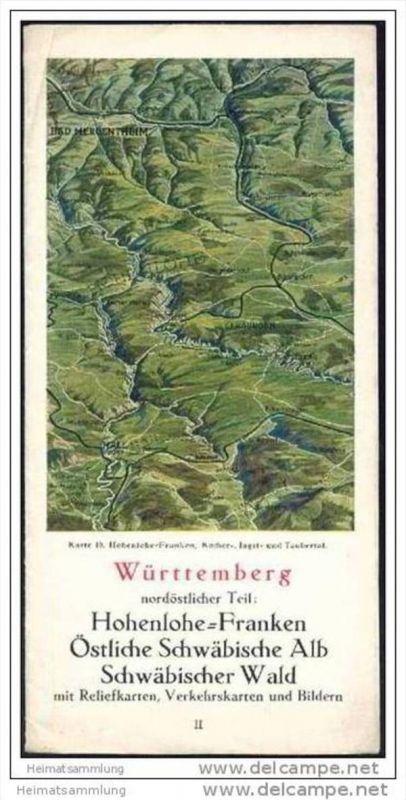 Württemberg 40er Jahre - nordöstlicher Teil Hohenlohe-Franken Östliche Schwäbische Alb Schwäbischer Wald mit Reliefkarte 0