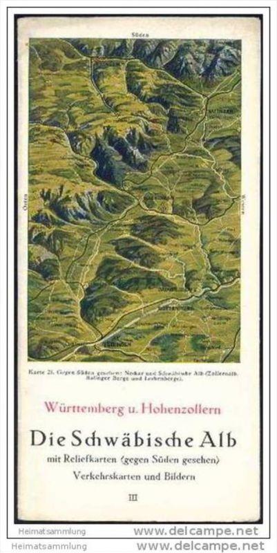 Württemberg und Hohenzollern 40er Jahre - Schwäbische Alb mit Reliefkarten - Verkehrskarten und Bildern