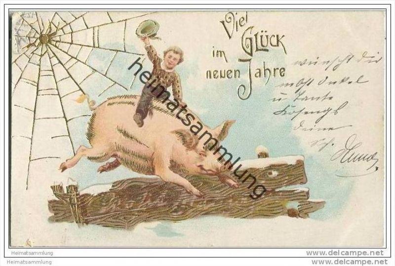 Neujahr - Spinne - Spinnennetz - Schwein - Prägekarte 0