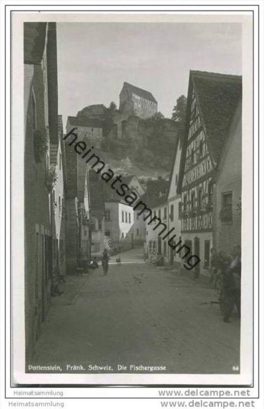 91278 Pottenstein - Die Fischergasse - Foto-AK  50er Jahre 0