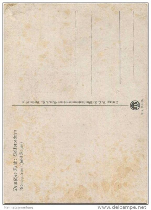 Mönchguterin Insel Rügen - Volkstrachten - Künstlerkarte R. Nitsch - Verlag VDA Berlin 30er Jahre 1
