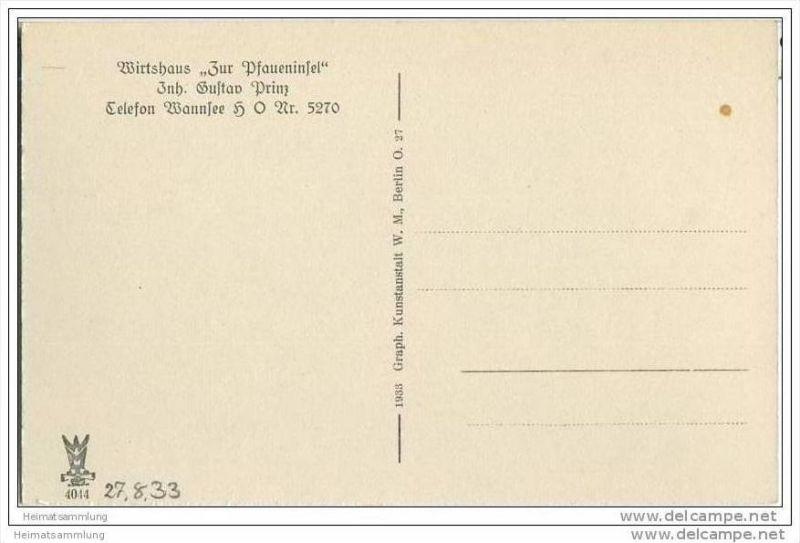 Berlin-Grunewald - Wirtshaus 'Zur Pfaueninsel' - Inhaber Gustav Prinz - AK 30er Jahre 1