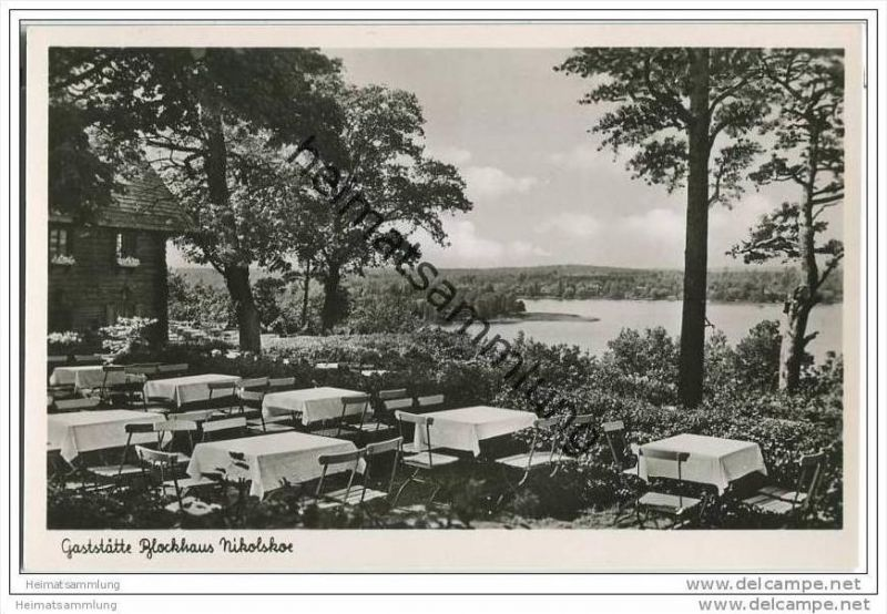 Berlin-Grunewald - Gaststätte ´Blockhaus Nikolskoe´ - Foto-AK ca. 1950 0
