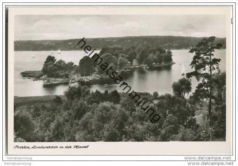 Berlin-Grunewald - Insel Lindwerder - Foto-AK 50er Jahre