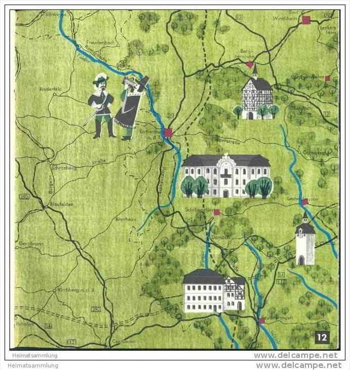 Reiseatlas Franken 1965 - 40 Seiten mit 21 Abbildungen und Illustrationen von Alois Schmitz 1