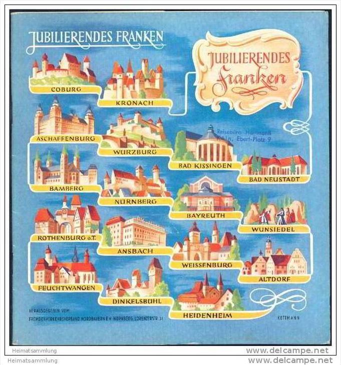 Jubilierendes Franken 1952 - 20 Seiten mit 18 Abbildungen von Altdorf bis Wunsiedel