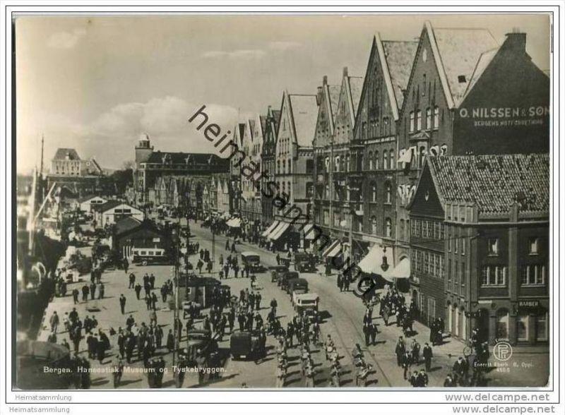 Bergen - Hanseatisk Museum og Tyskebrykken - Foto-AK Grossformat 0