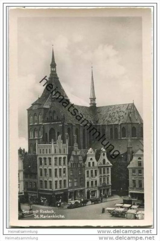Seestadt Rostock - St. Marienkirche - Foto-AK