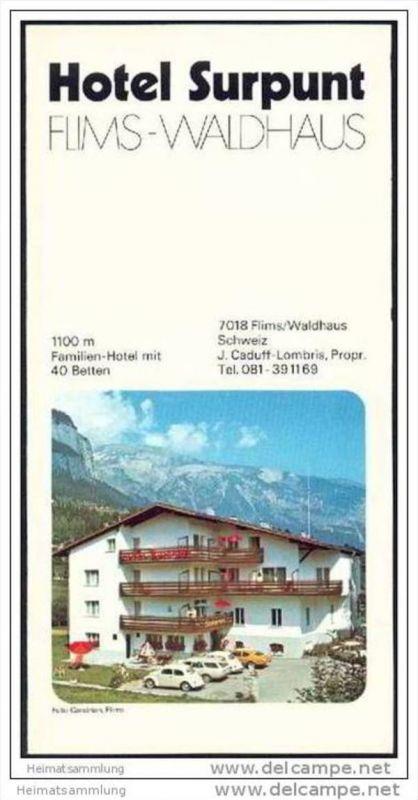 Flims-Waldhaus 1976 - Hotel Surpunt - Faltblatt mit 16 Abbildungen