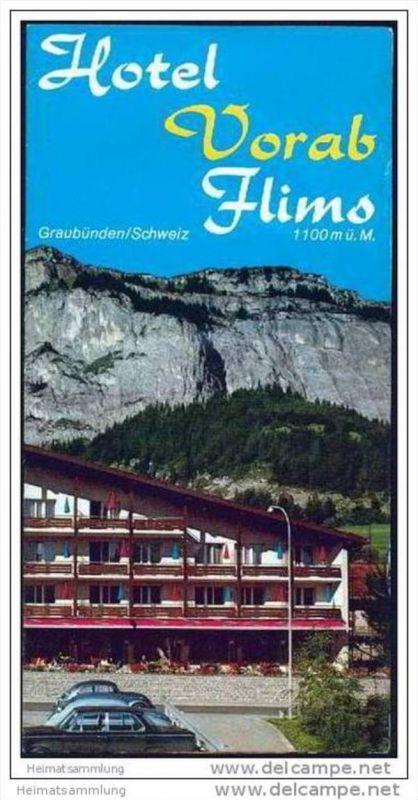 Flims - Hotel Vorab 70er Jahre - Faltblatt mit 10 Abbildungen