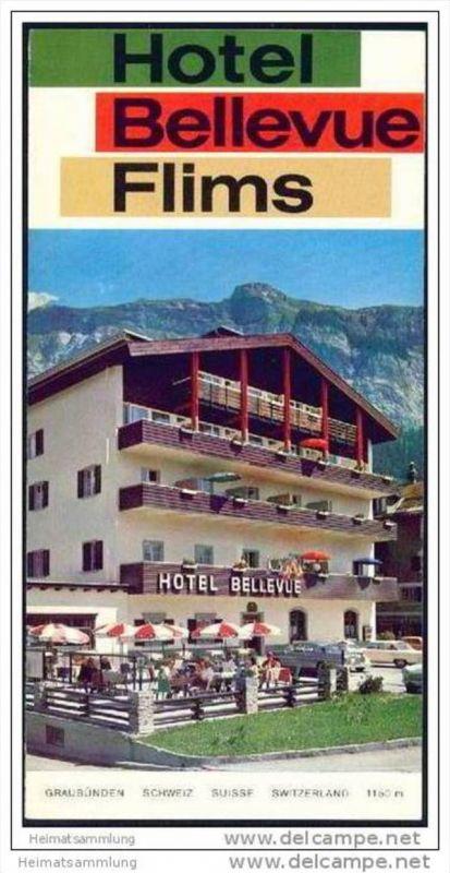 Flims - Hotel Bellevue - Faltblatt mit 7 Abbildungen