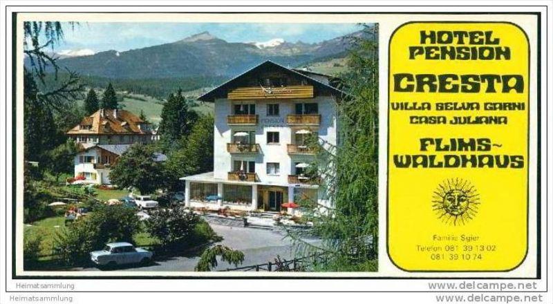 Flims-Waldhaus - Hotel Pension Cresta - Villa Seluva Garni - Casa Juliana / Familie Sgier - Faltblatt mit 7 Abbildungen 0
