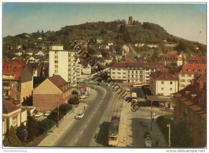 Karlsruhe - Durlach - Endstation der Strassenbahn und Turmberg - AK Grossformat - Verlag Gebr. Metz Tübingen 0
