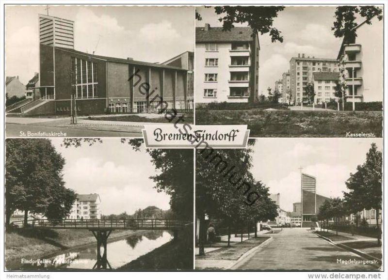 Bremen-Findorff - St. Bonifatiuskirche - Kasselerstrasse - Findorffallee/Weidedamm - Magdeburgerstrasse - Foto-AK Grossf 0
