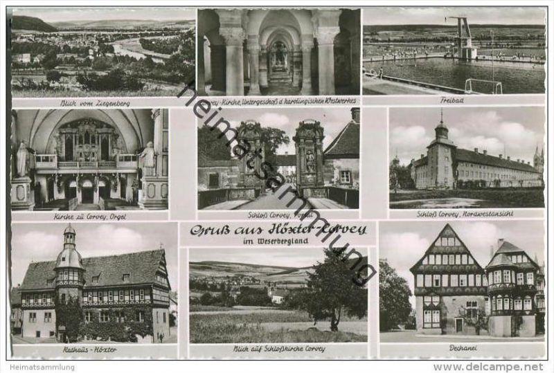 Höxter-Corvey - Freibad - Schloß - Foto-AK