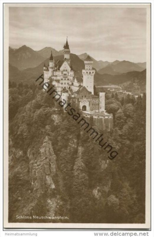 Schloss Neuschwanstein - Foto-AK 20er Jahre - Verlag Oskar Glink Kempten 0