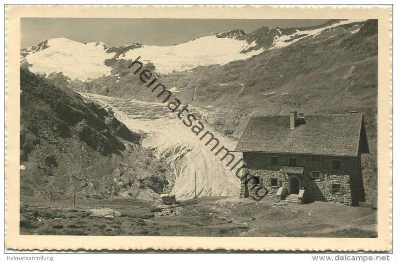 Karlsruher Hütte mit Gurgler-Gletscher und Schalfkogl - Foto-AK - Verlag Lohmann & Aretz Ober-Gurgl 40er Jahre 0