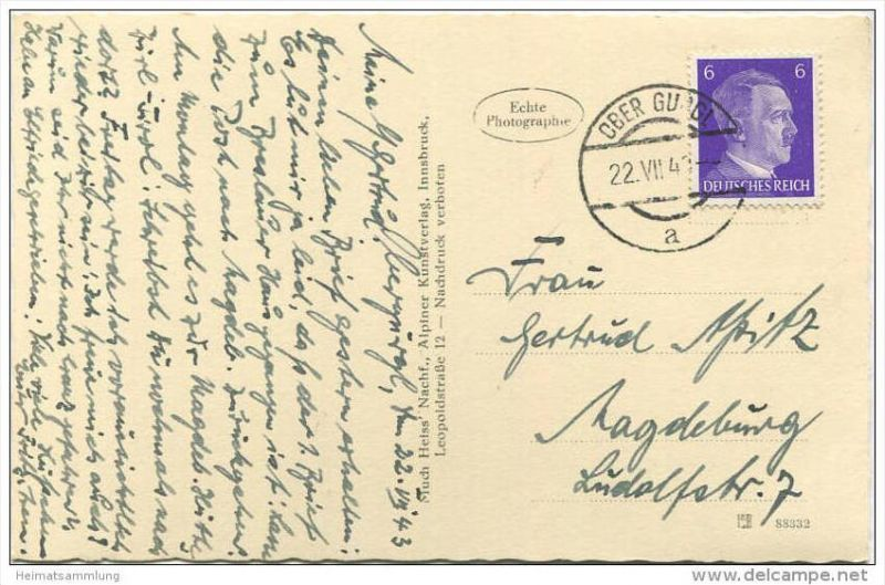 Gurgl - Foto-AK - Verlag Much Heiss' Nachf. Innsbruck gel. 1943 1
