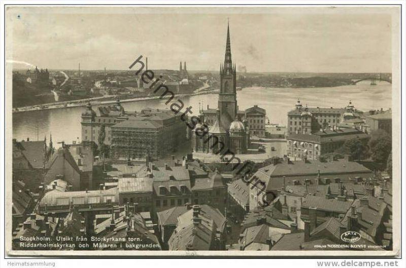 Stockholm - Utsikt fran Storkyrkans torn - Foto-AK gel. 1936 0