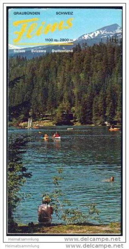 Flims 1977 - Faltblatt mit 35 Abbildungen - Flims Wochenprogramm 16.-28. Februar 1977 - Hotelliste - Fahrplan Bergbahnen