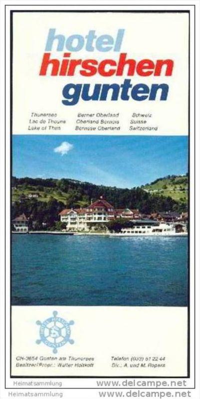Gunten - Hotel Hirschen - Faltblatt mit 10 Abbildungen